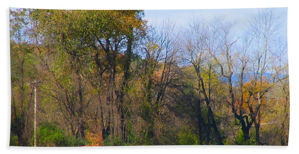 Country Hand Towel featuring the photograph Country Bails by Art Dingo