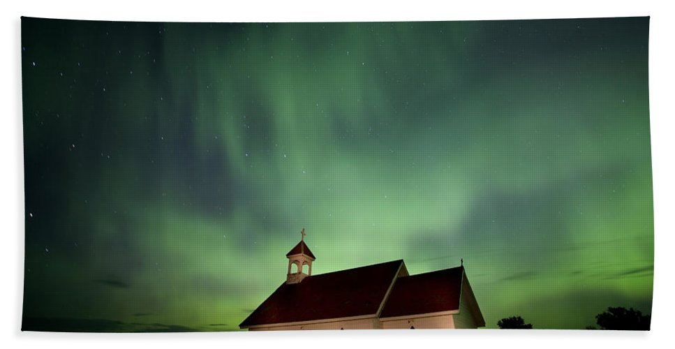 Country Hand Towel featuring the photograph Country Church And Northern Lights by Mark Duffy