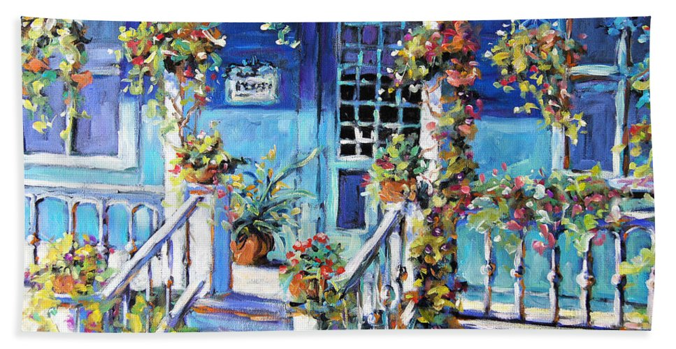 Canadian Artist Painter Bath Sheet featuring the painting Country Porch And Flowers By Prankearts by Richard T Pranke