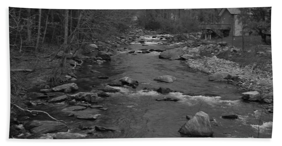 Nature Bath Sheet featuring the photograph Country Stream Bw by Michael MacGregor