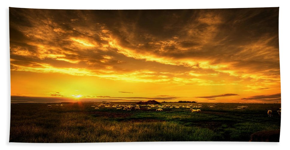 Blue Hand Towel featuring the photograph Countryside Sunset by Svetlana Sewell