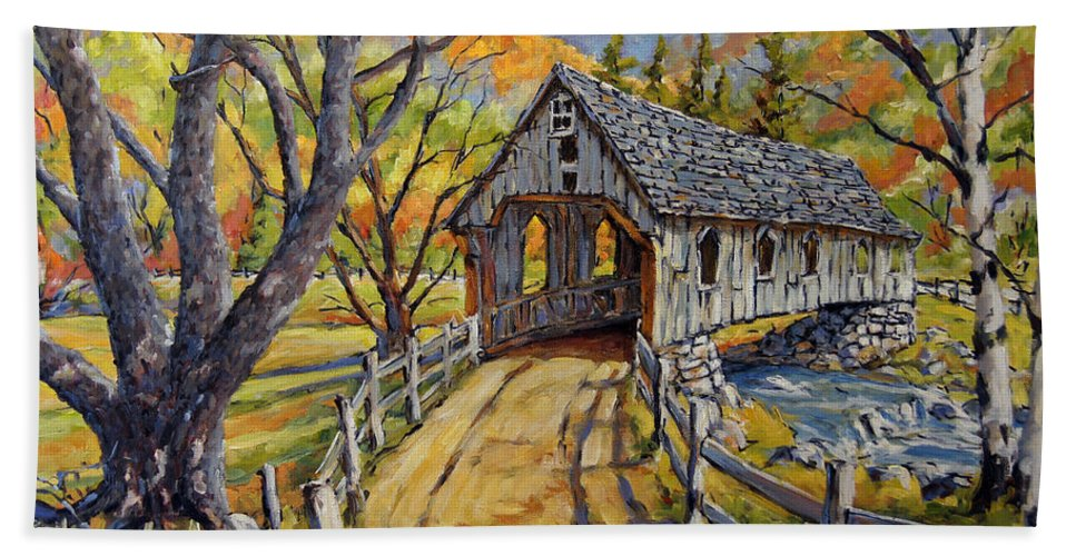 Art Hand Towel featuring the painting Covered Bridge 04 by Richard T Pranke