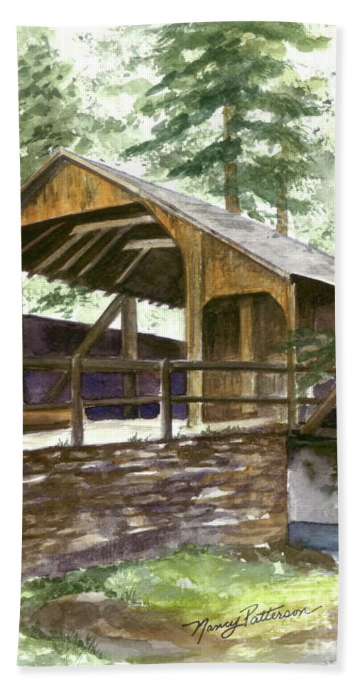 Covered Bridge Hand Towel featuring the painting Covered Bridge At Knoebels by Nancy Patterson