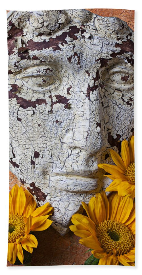 Face Bath Sheet featuring the photograph Cracked Face And Sunflowers by Garry Gay