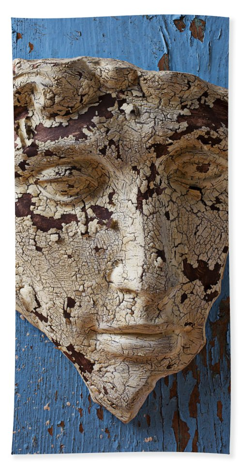 Face Bath Sheet featuring the photograph Cracked Face On Blue Wall by Garry Gay