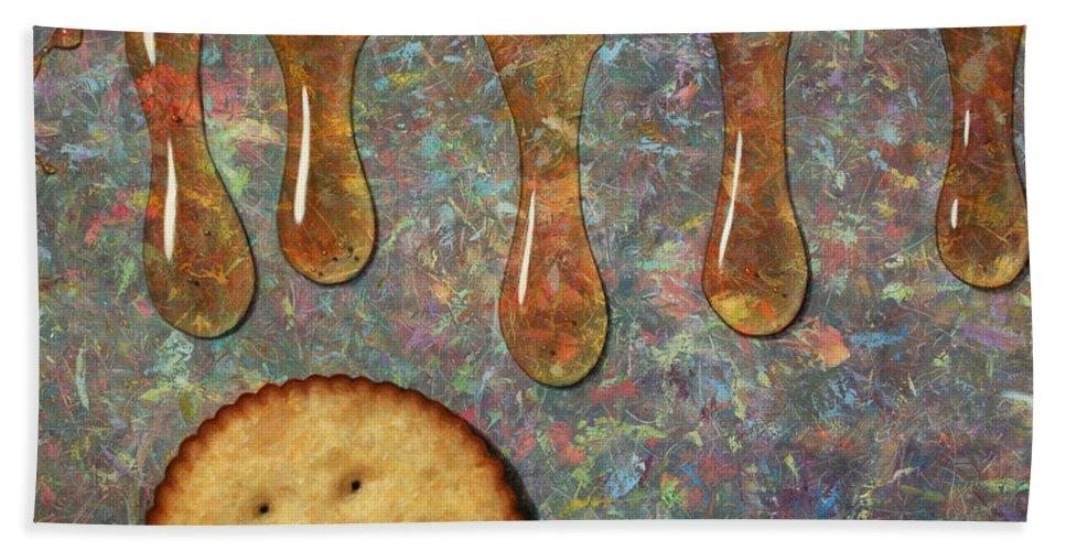 Cracker Hand Towel featuring the painting Cracker Honey by James W Johnson
