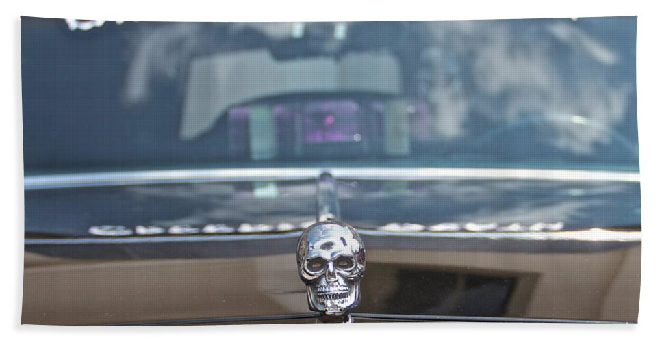 Creeping Death Funeral Hearse Car Show Skeleton Bath Sheet featuring the photograph Creeping Death by Alice Gipson