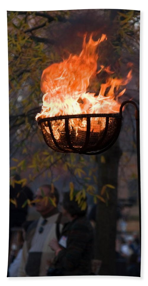 Cresset Burning Hand Towel featuring the photograph Cresset Giving Light by Sally Weigand
