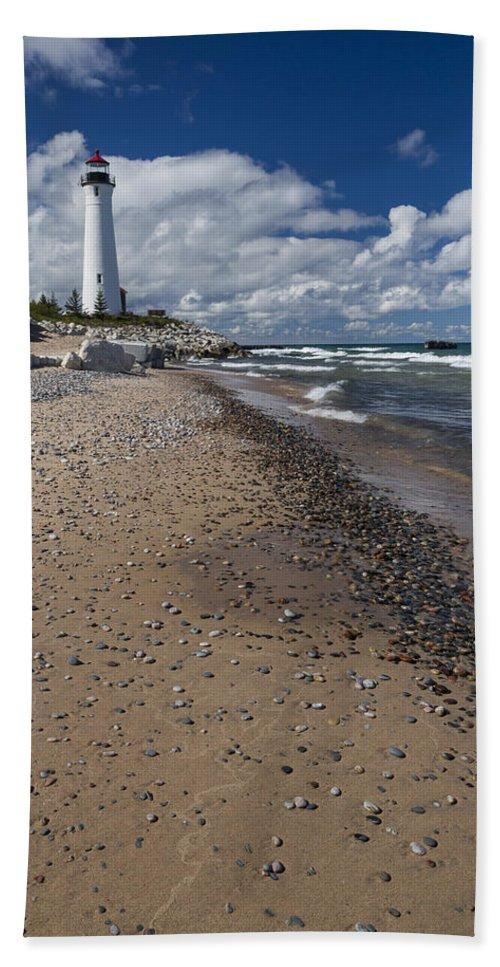 Crisp Bath Sheet featuring the photograph Crisp Point Lighthouse 14 by John Brueske