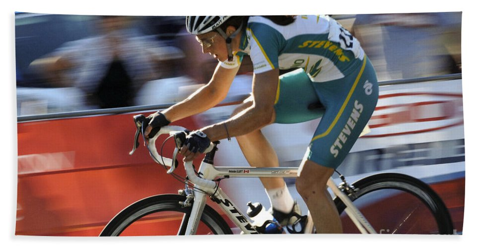 Criterium Hand Towel featuring the photograph Criterium Bicycle Race 2 by Bob Christopher
