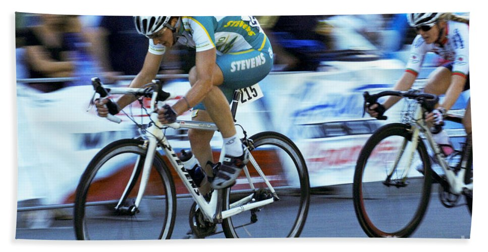 Criterium Hand Towel featuring the photograph Criterium Bicycle Race 3 by Bob Christopher