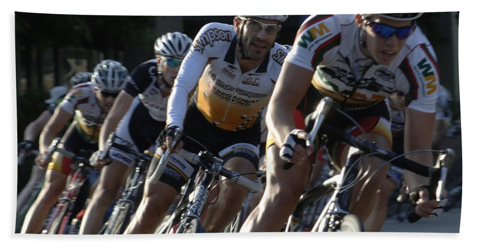 Criterium Hand Towel featuring the photograph Criterium Bicycle Race 5 by Bob Christopher