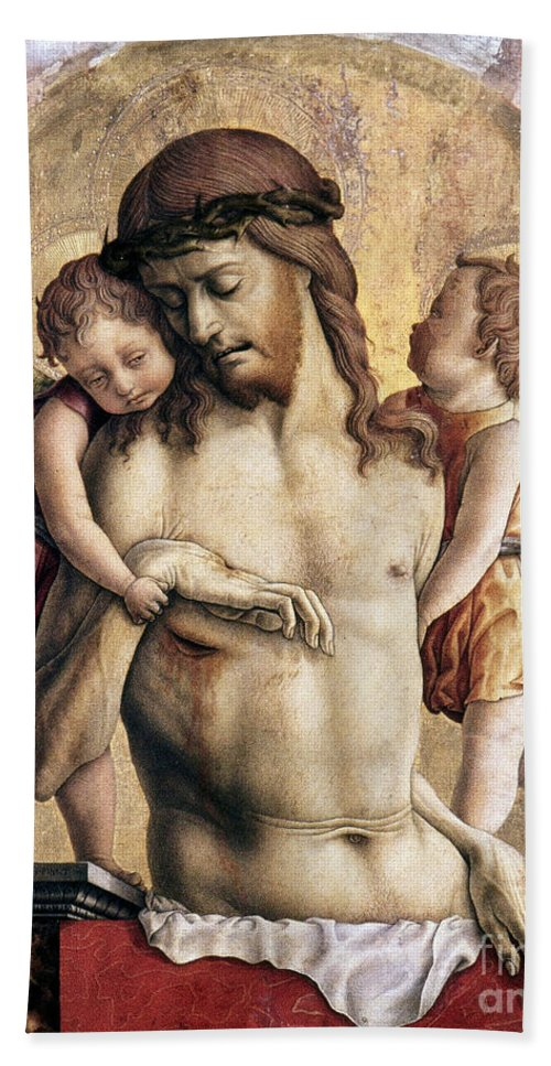 Angel Hand Towel featuring the photograph Crivelli: Pieta by Granger