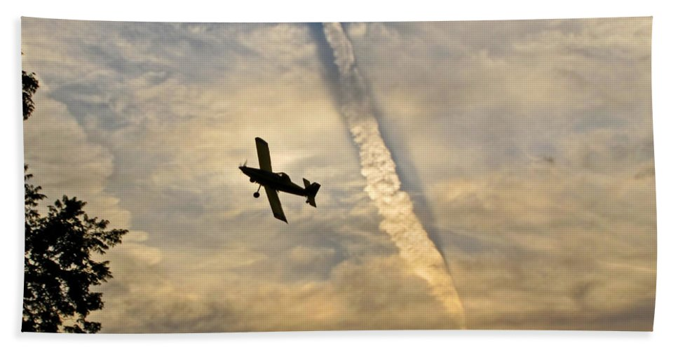 Bath Sheet featuring the photograph Crop Duster Under The Jet Trail by Debbie Portwood