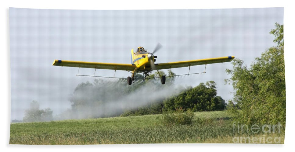 Plane Bath Sheet featuring the photograph Crop Dusting Plane In Action by Lori Tordsen