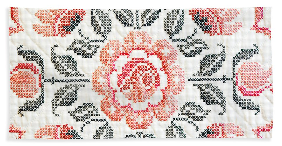 Quilt Bath Sheet featuring the photograph Cross Stitch Roses by Marilyn Hunt