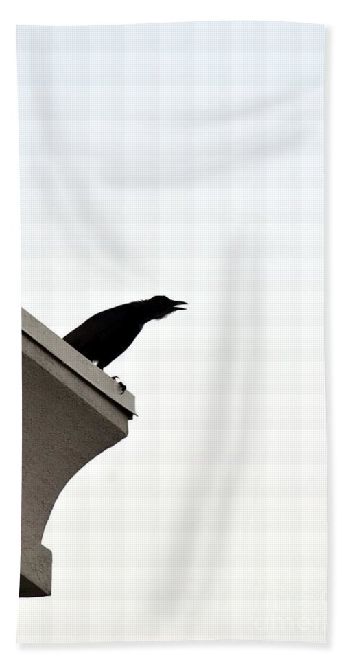 Crow Hand Towel featuring the photograph Crow Call by Maria Urso