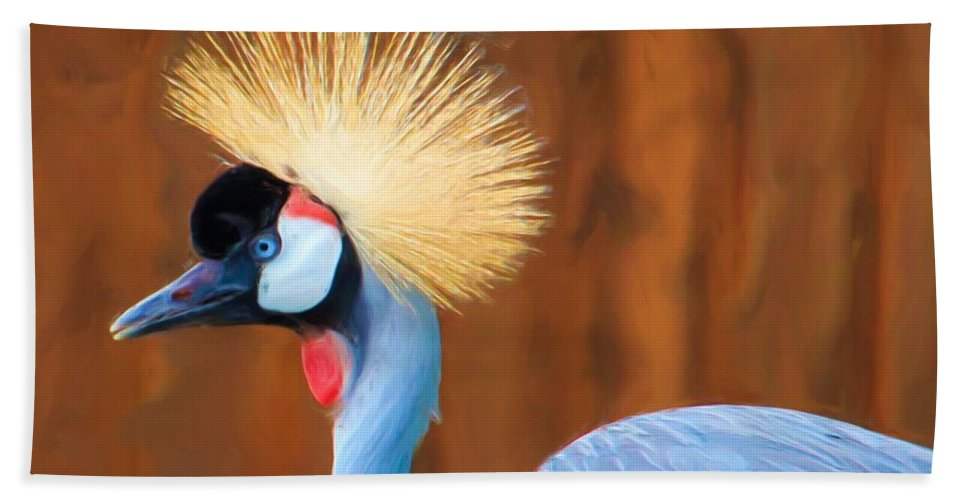 Bird Bath Sheet featuring the photograph Crowned Crane by Heidi Smith