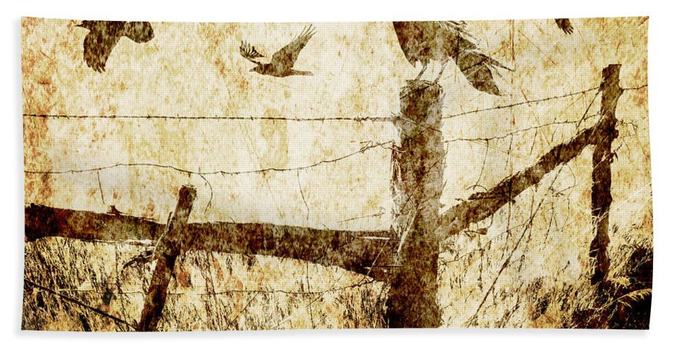 Art Bath Sheet featuring the photograph Crows And The Corner Fence by Randall Nyhof
