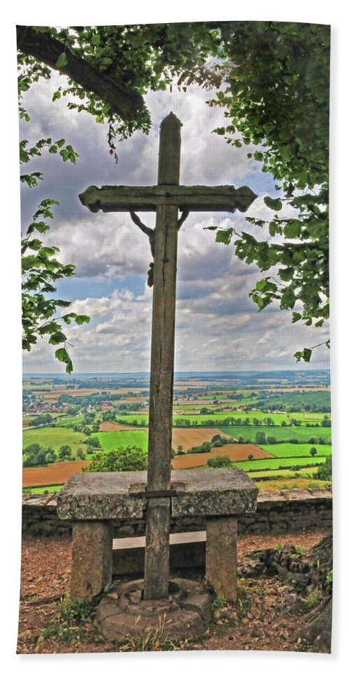 Crucifix Bath Sheet featuring the photograph Crucifix Overlooking The French Countryside by Dave Mills