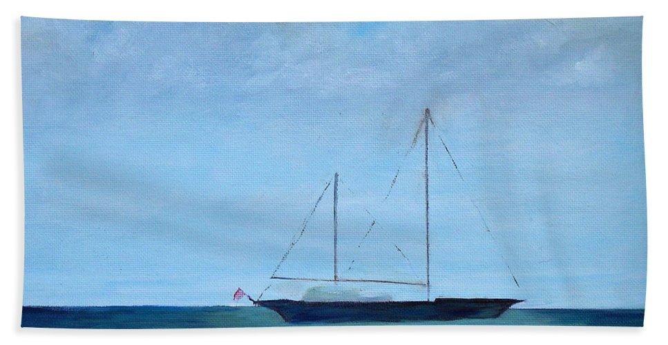 Cruising Sailboat Boat Ocean Sea Boating Mast Vessel Ship Sloop Cutter Catboat Schooner Hull Keel Flag Blue Green Sky Cloud Hand Towel featuring the painting Cruising Sailboat by Patricia Caldwell