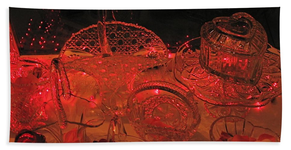 Crystal Bath Sheet featuring the photograph Crystal In Red by Nancy Patterson