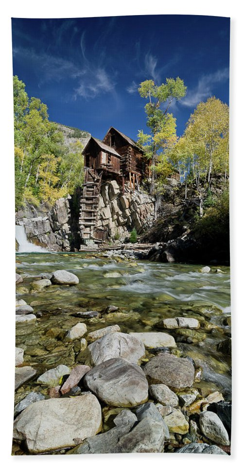 Crystal Mill Bath Sheet featuring the photograph Crystal Mill In Autumn by Greg Nyquist