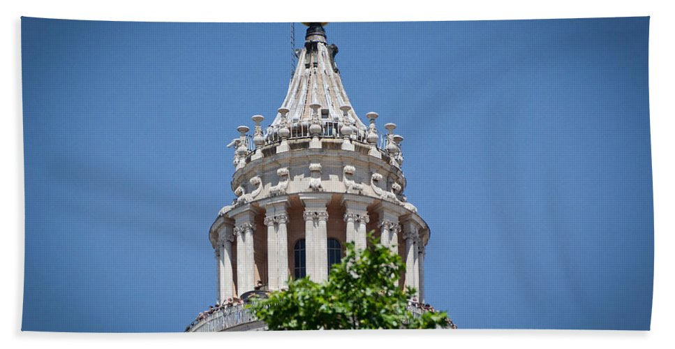 St Peters Hand Towel featuring the photograph Cupola Atop St Peters Basilica Vatican City Italy by Jon Berghoff