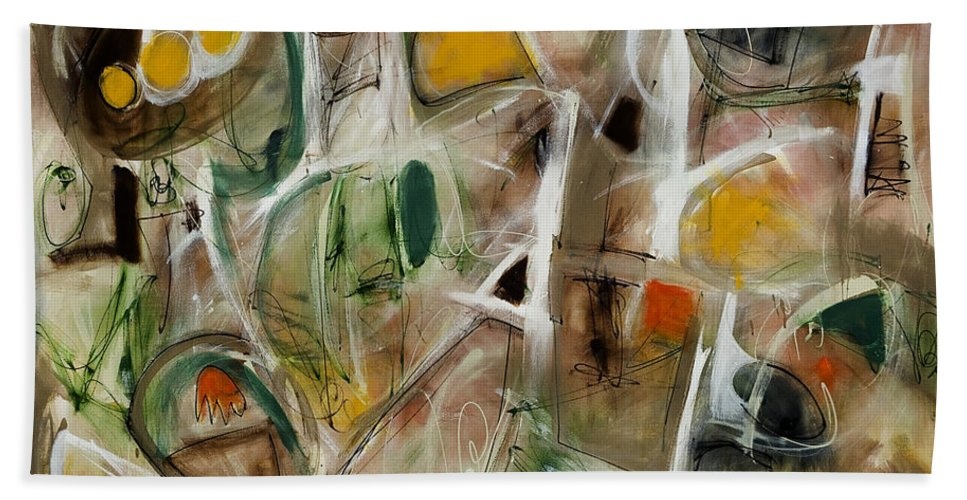 Abstract Bath Sheet featuring the painting Curiouser And Curiouser by Lynne Taetzsch