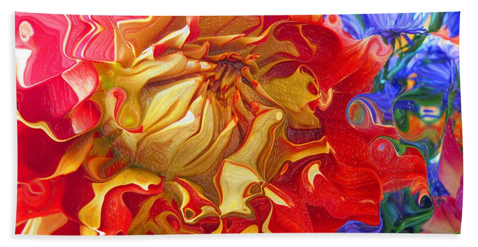 Abstract Bath Sheet featuring the photograph Red And Yellow Dahlia by Kathy Moll