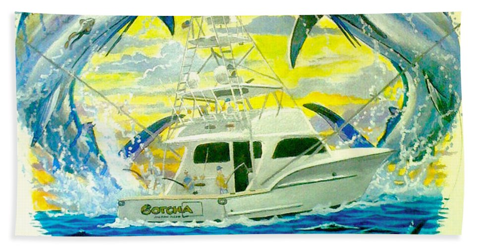 Sportfishing Boat Bath Sheet featuring the painting Custom Artwork by Carey Chen