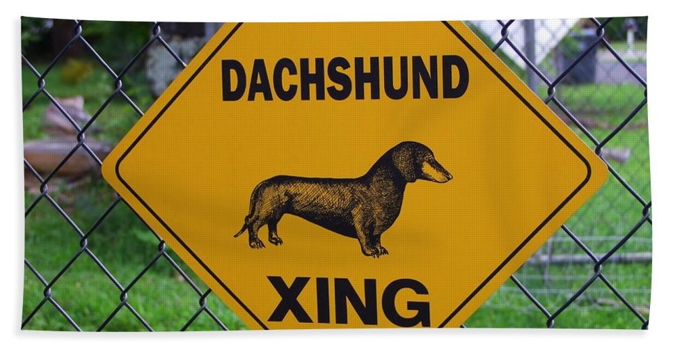 Signs Bath Sheet featuring the photograph Dachshund Crossing by Mary Deal