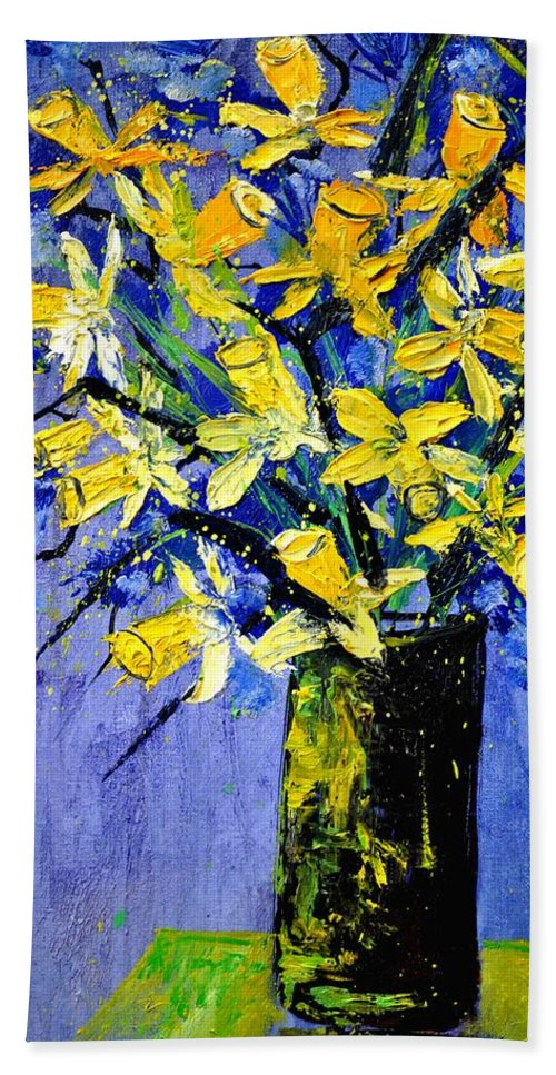 Flowers Bath Sheet featuring the painting Daffodils by Pol Ledent
