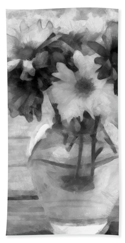 Daisy Bath Sheet featuring the photograph Daisy Crazy Bw Revisited by Angelina Vick