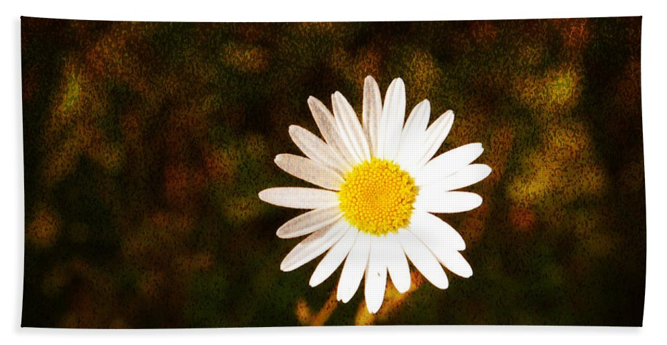 Daisy Bath Sheet featuring the photograph Daisy Is Single But Not Lonely by Susanne Van Hulst