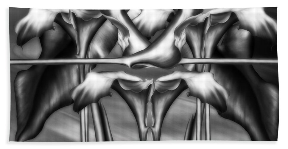 Abstract Realism Hand Towel featuring the digital art Dance Of The Black And White Calla Lilies Vi by Georgiana Romanovna
