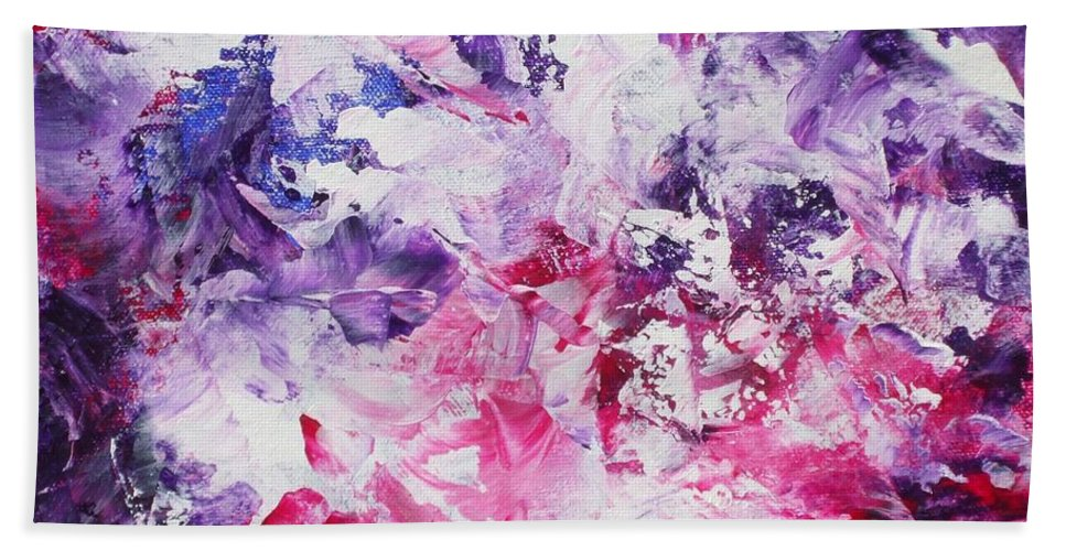Abstract Hand Towel featuring the painting Dancers by Claire Gagnon