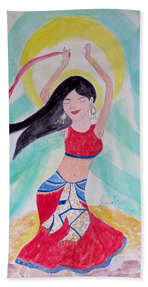 Dance Of The Near East Hand Towel featuring the painting Danse Du Ventre by Sonali Gangane