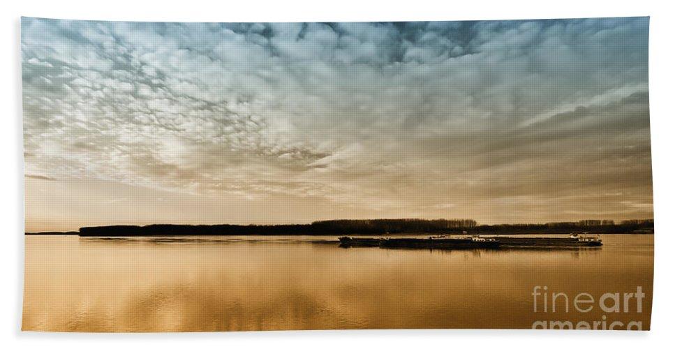 Photographs Of Sunset Hand Towel featuring the photograph Danube River-sunset by Evmeniya Stankova