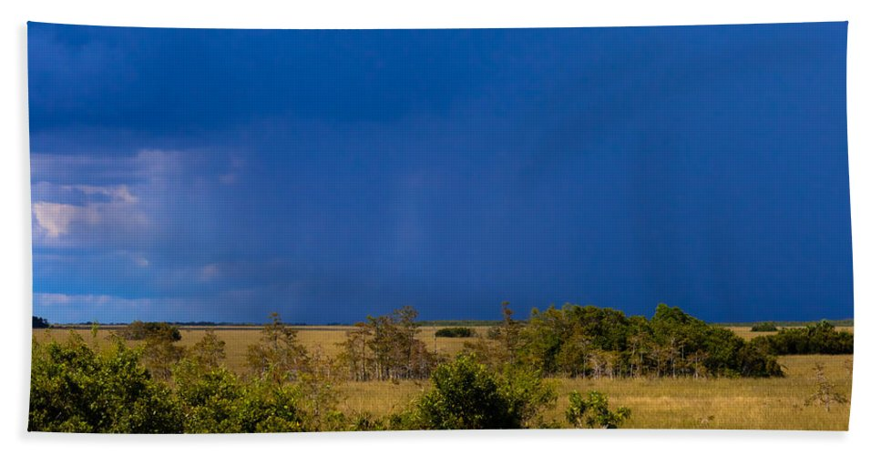 Copse Hand Towel featuring the photograph Dark Storm Over The Everglades by Ed Gleichman