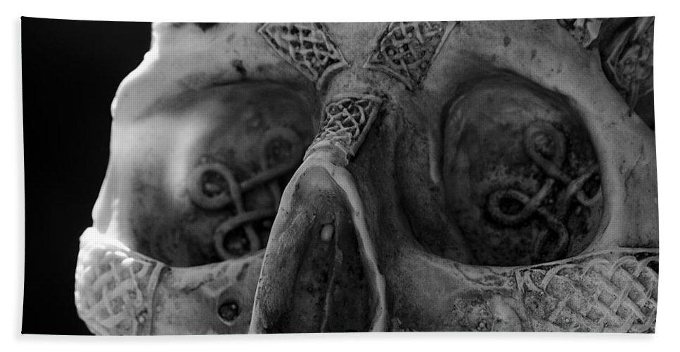 Skull Bath Sheet featuring the photograph Dark Thoughts Celtic Skull by LeeAnn McLaneGoetz McLaneGoetzStudioLLCcom