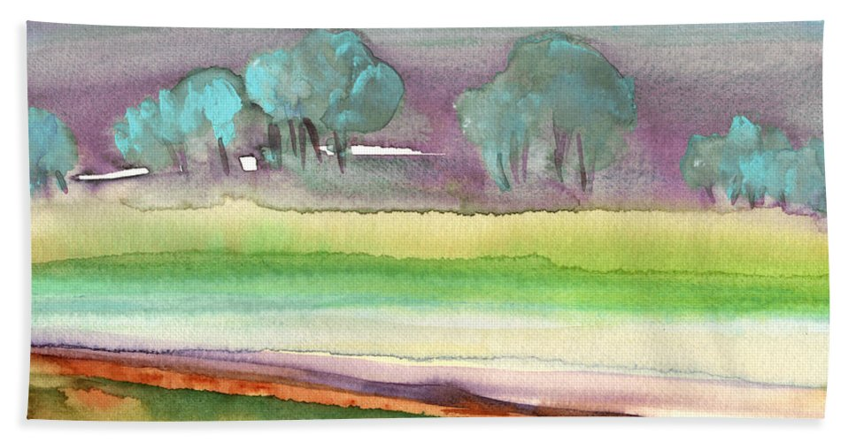 Landscapes Bath Sheet featuring the painting Dawn 22 by Miki De Goodaboom