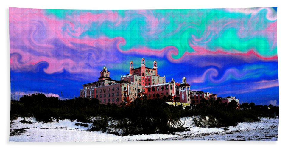 Don Cesar Hotel Florida Hand Towel featuring the painting Day At The Don by David Lee Thompson