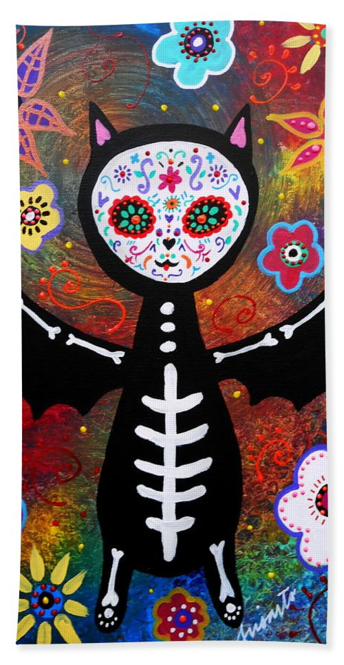 Bat Bath Sheet featuring the painting Day Of The Dead Bat by Pristine Cartera Turkus