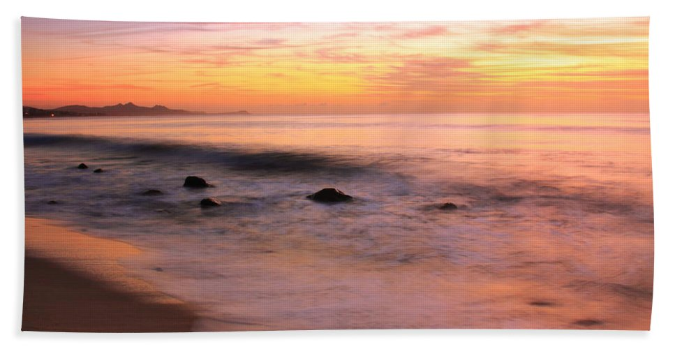 Daybreak Hand Towel featuring the photograph Daybreak Seascape by Roupen Baker