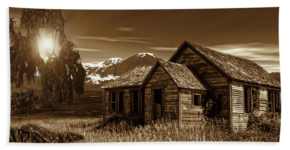 Sepia Bath Sheet featuring the photograph Days Of Yore by Lourry Legarde