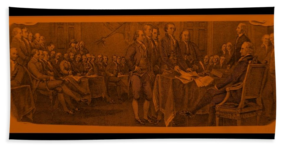 Declaration Of Independence Bath Sheet featuring the photograph Declaration Of Independence In Orange by Rob Hans
