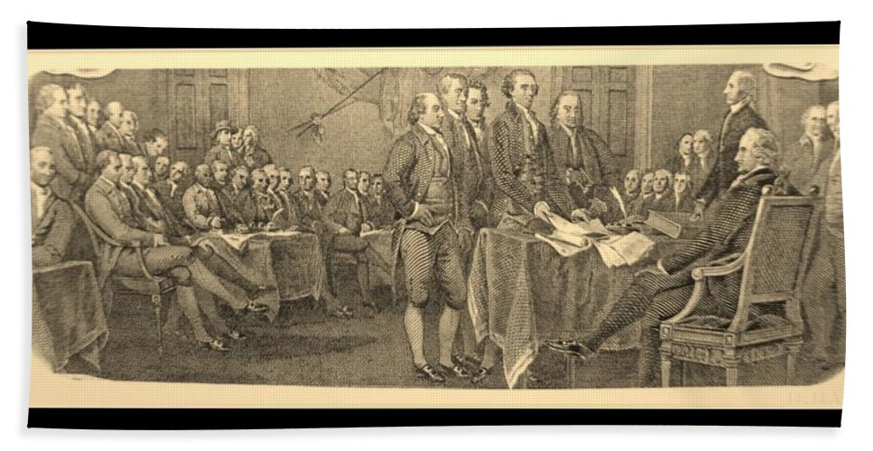 Declaration Of Independence Bath Sheet featuring the photograph Declaration Of Independence In Sepia by Rob Hans