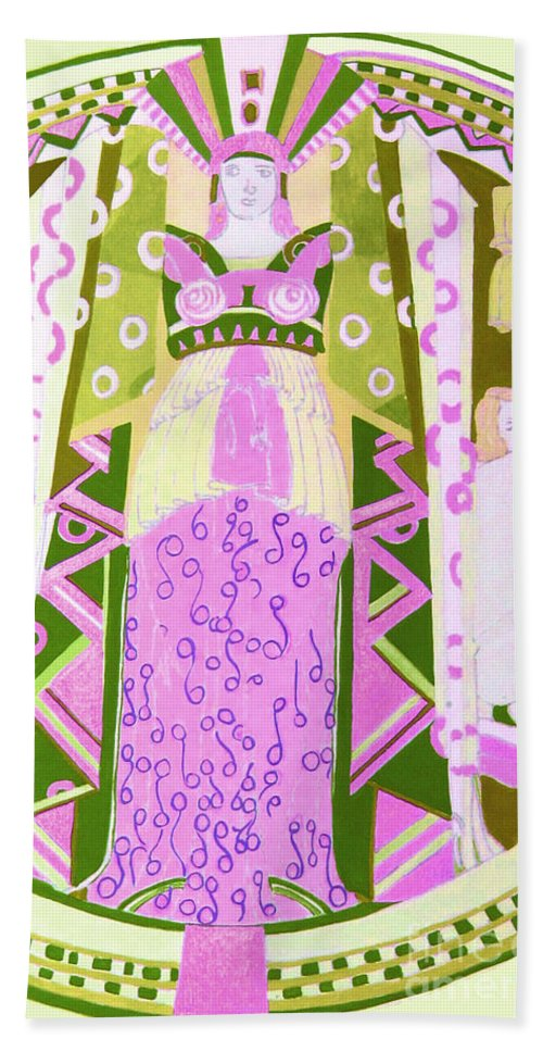 Deco Bath Sheet featuring the mixed media Deco Ladies Frostwork And Iris by Beth Saffer