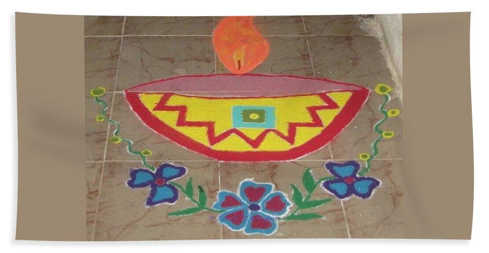 Colourful Diya Hand Towel featuring the drawing Decorative Earthen Diya Rangoli by Sonali Gangane